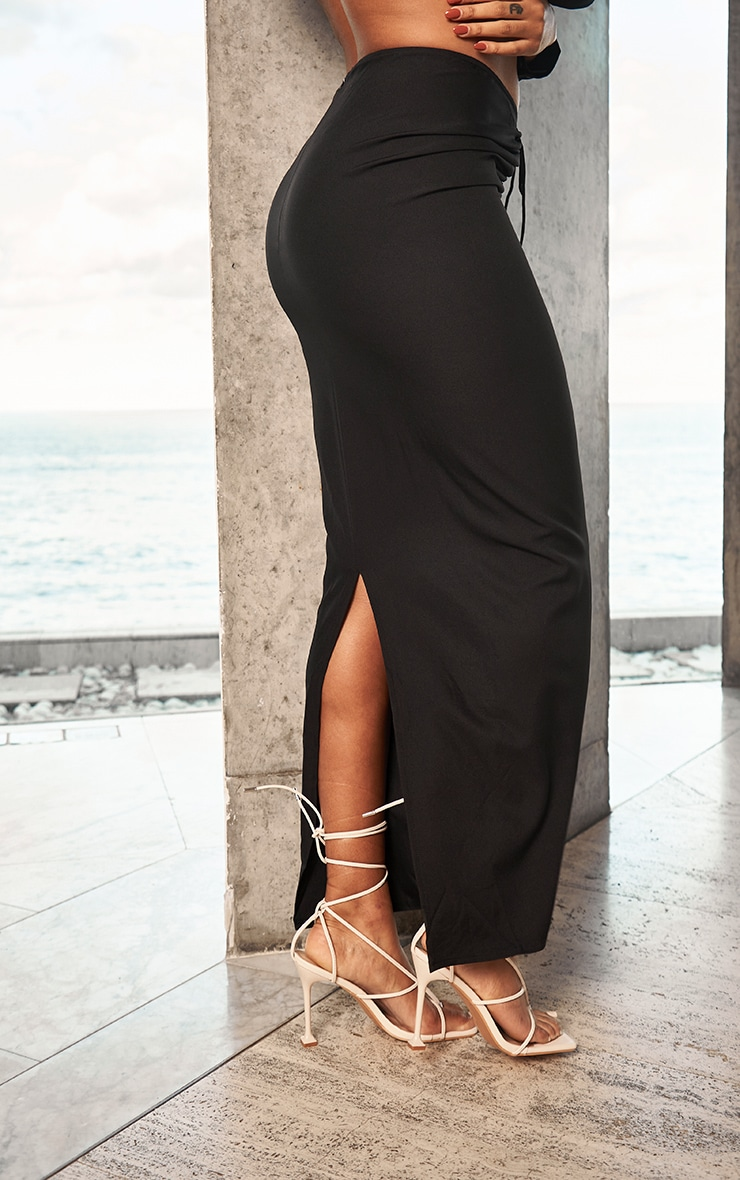 Black Woven Ruched Tie Front Maxi Skirt 3
