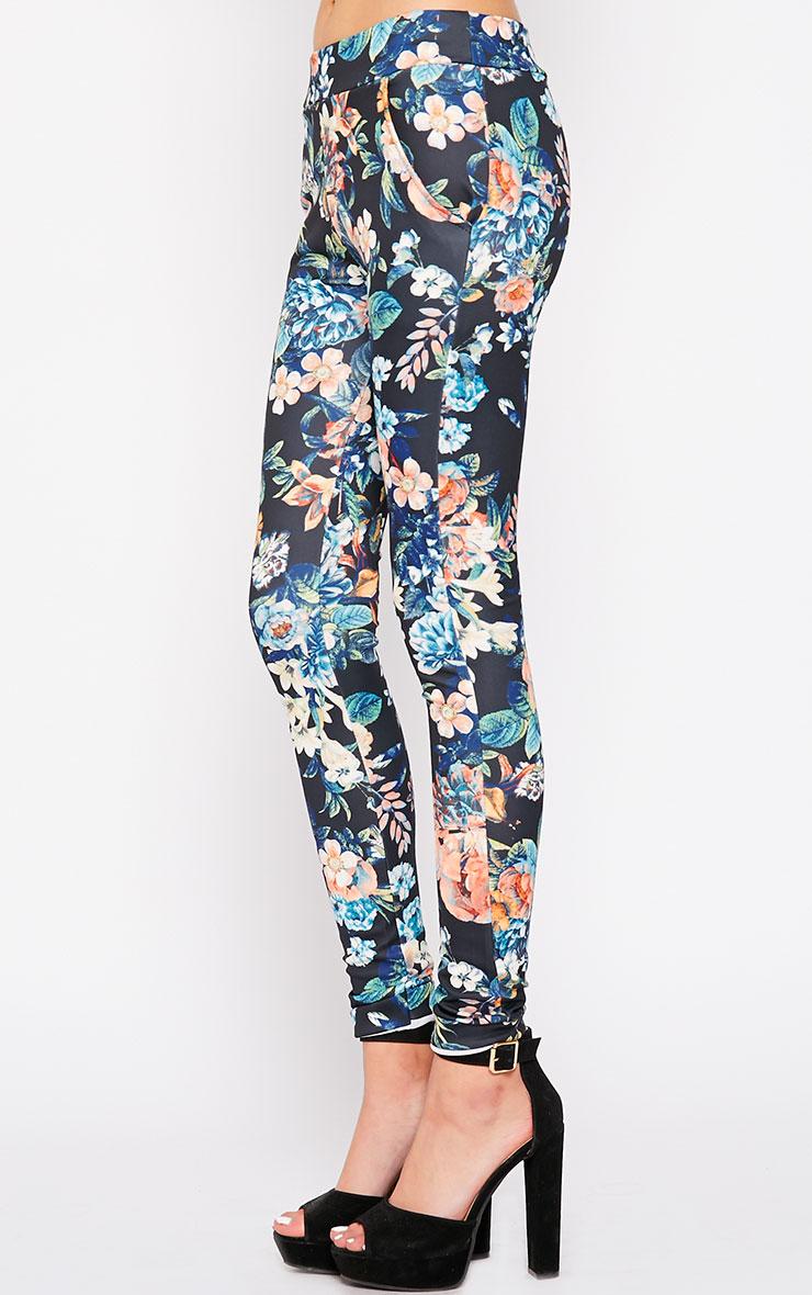 Catey Black Floral Trouser 3