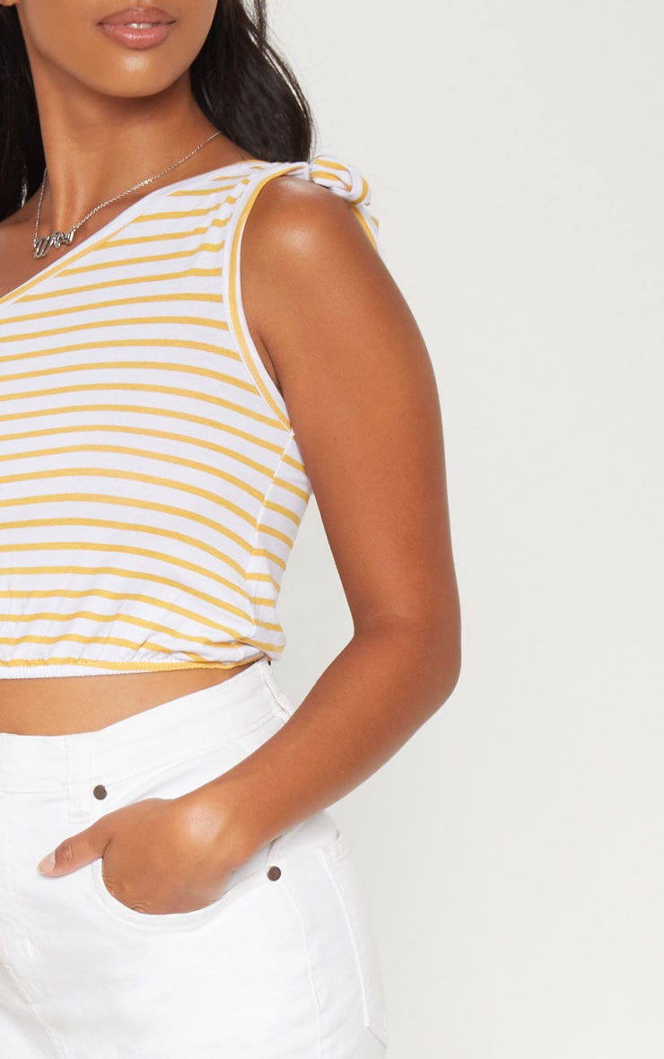 Petite Mustard Striped Tie Shoulder Crop Top 5