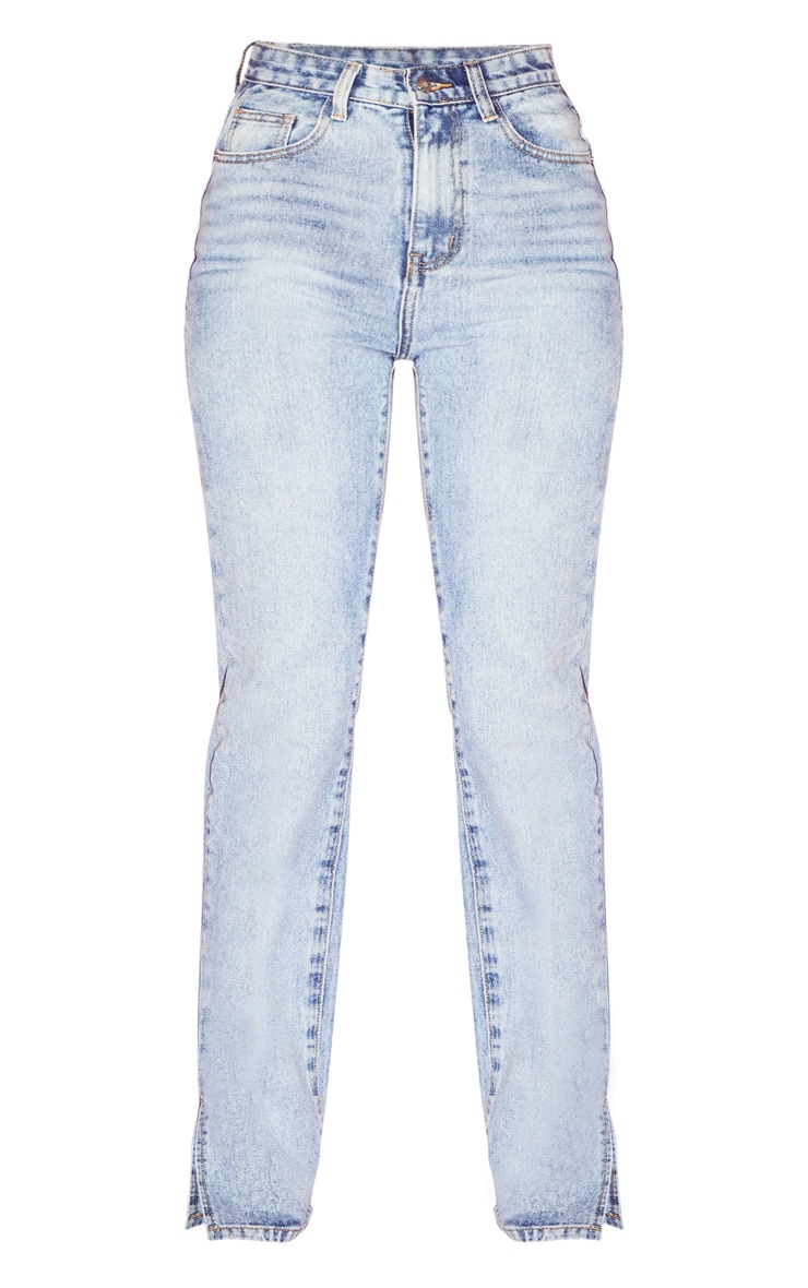 Light Wash Split Hem Jeans  3