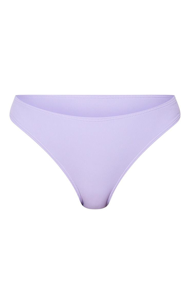 Purple Soft Ribbed Contrast High Leg Bikini Bottoms 5