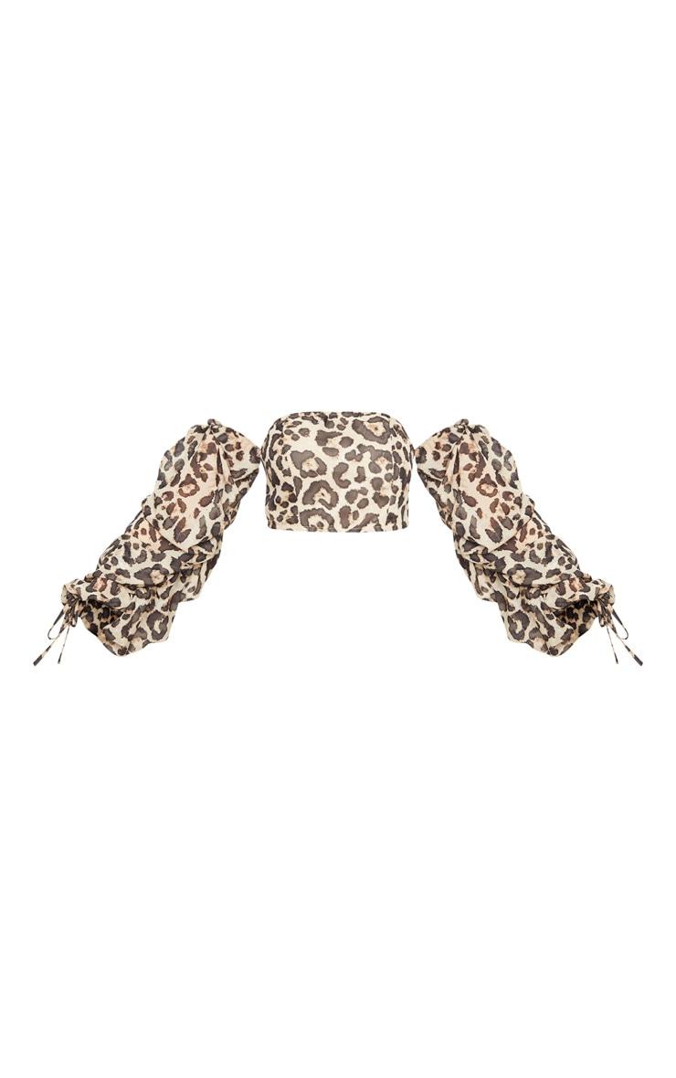 Tan Chiffon Leopard Print Ruched Sleeve Bardot Crop Top 5