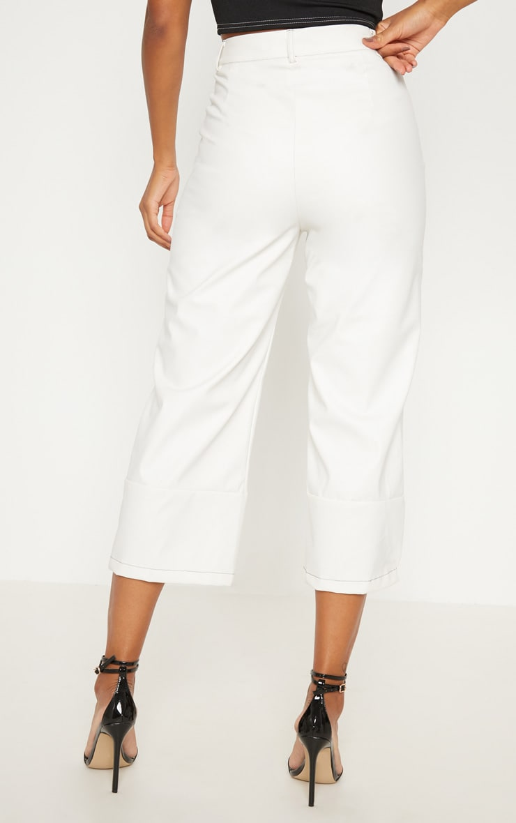 White Faux Leather Culotte 4