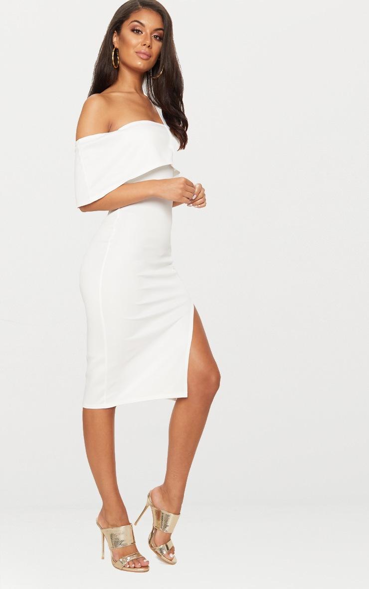 White Asymmetric Strap Split Detail Midi Dress  4