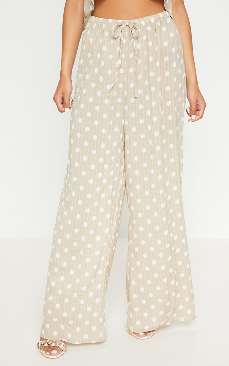 Stone Cheesecloth Polka Dot Wide Leg Trousers  2