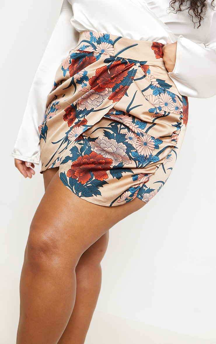 Plus Nude Satin Floral Print Gathered Mini Skirt 6