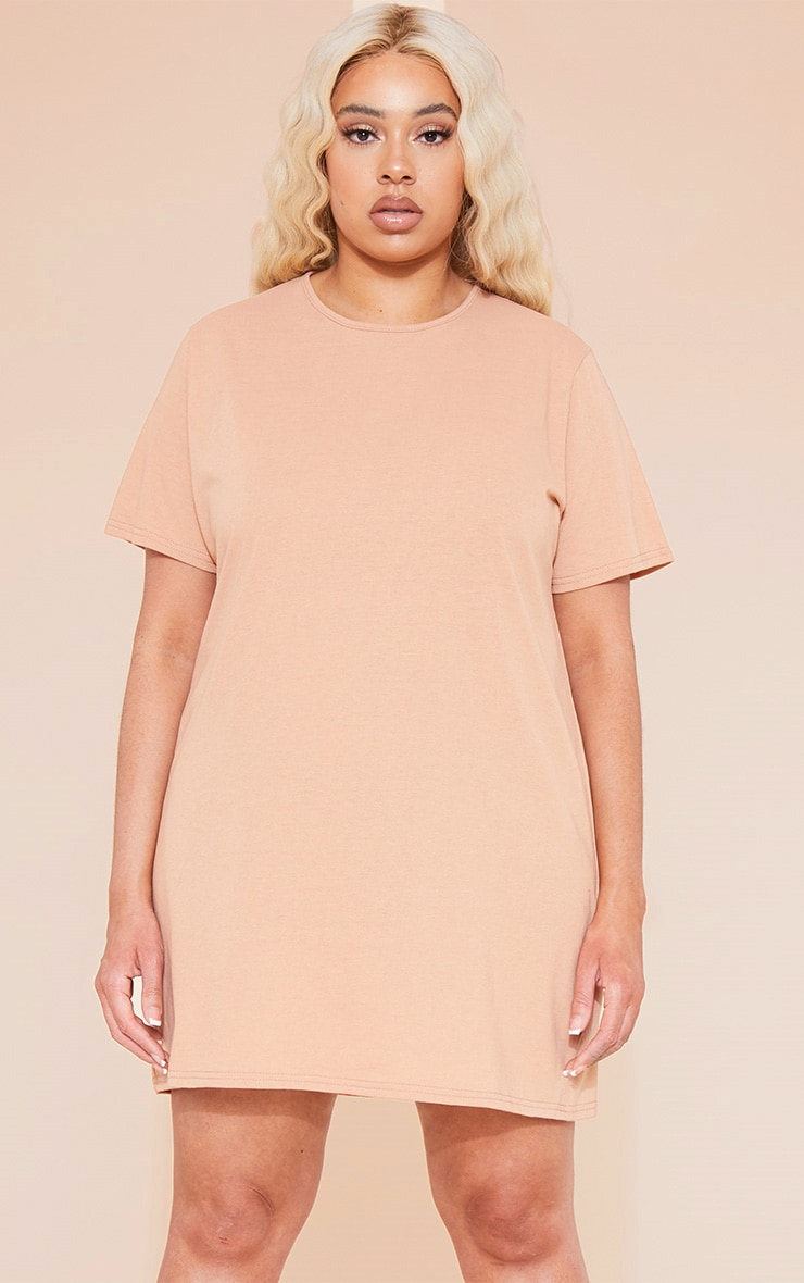 RECYCLED Plus Pale Tan T Shirt Dress 1