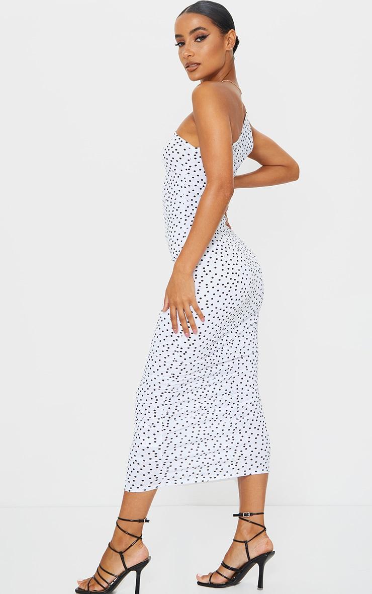 White Polka Dot One Shoulder Ruched Midi Dress 2