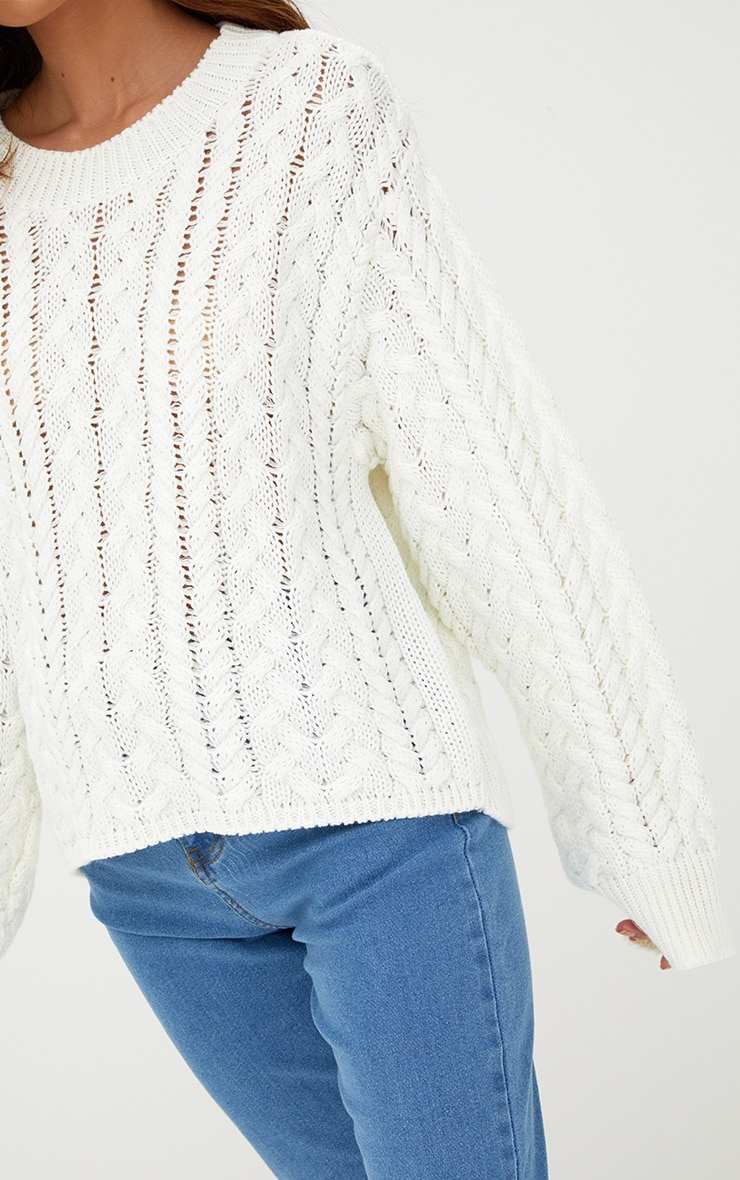 Cream Chunky Cable Knit Jumper 4