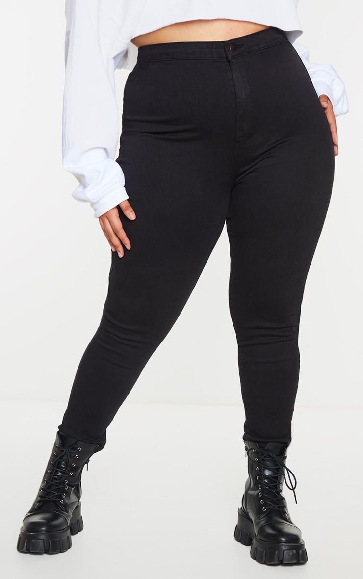 Plus PRETTYLITTLETHING Black Disco Skinny Jeans 2