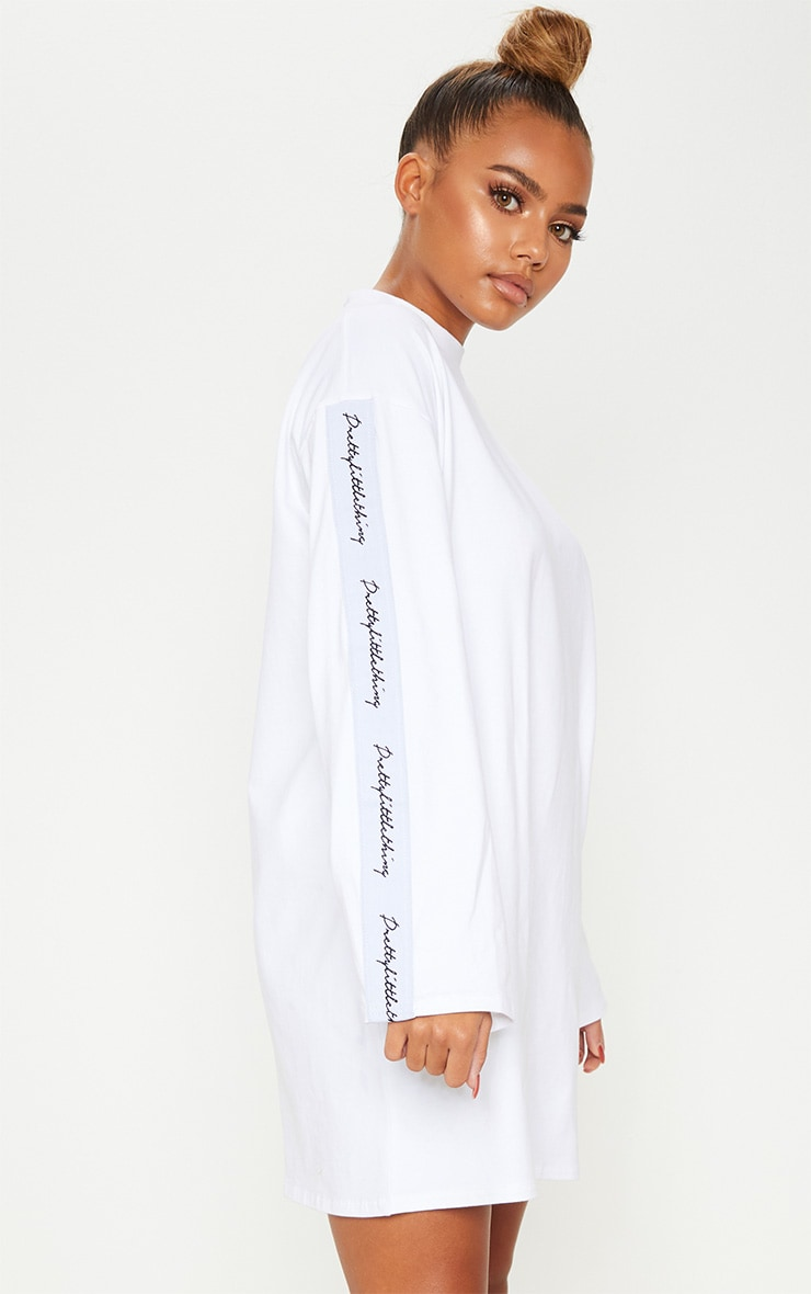 PRETTYLITTLETHING White Tape Long Sleeve T Shirt Dress 1