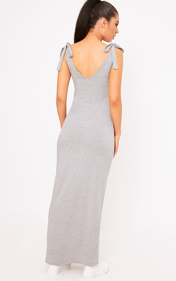 Grey Marl Jersey Tie Sleeve Maxi Dress 2