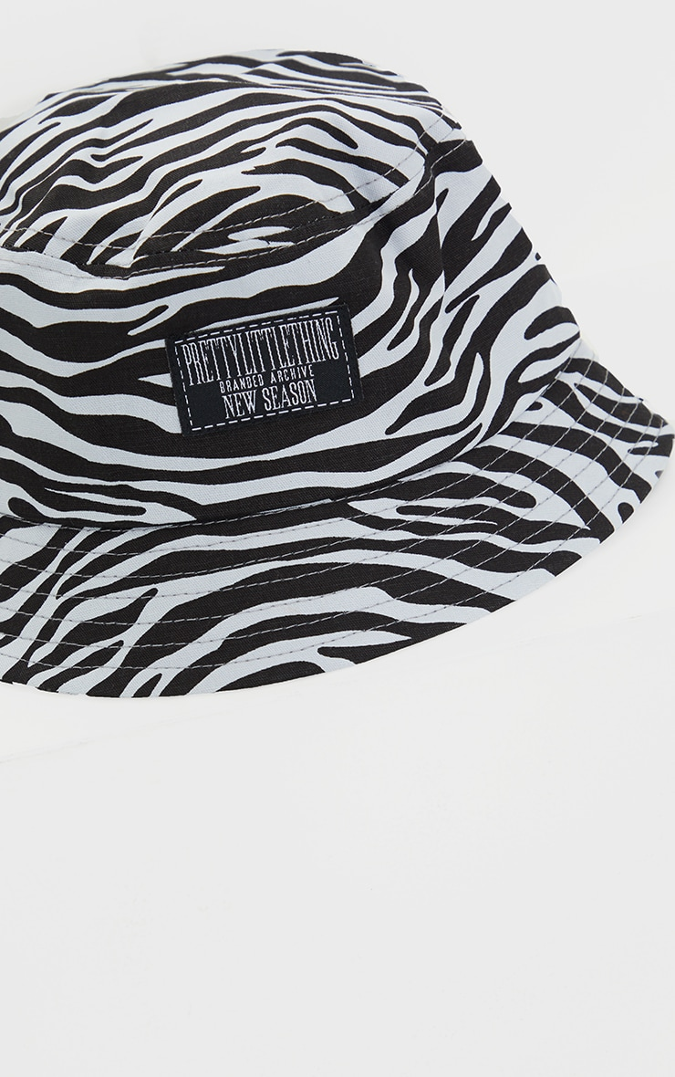 PRETTYLITTETHING Black And White Zebra Bucket Hat 3