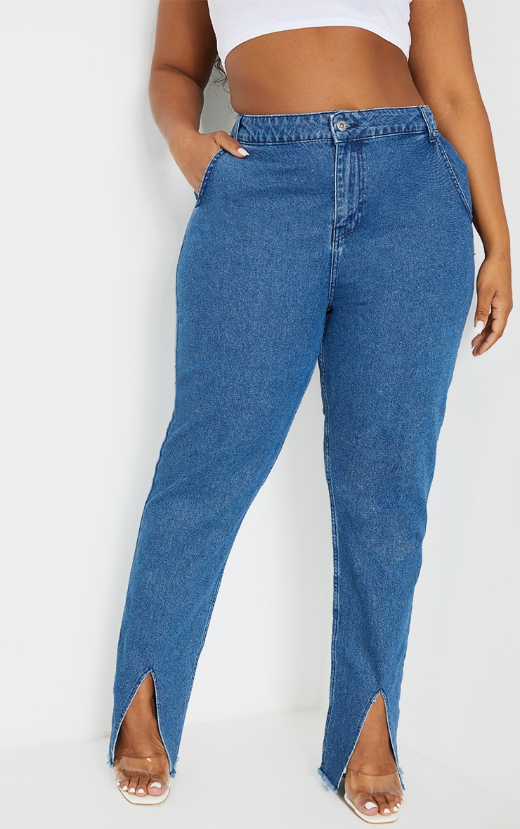 Plus Mid Blue Wash Split Hem Mom Jeans 2
