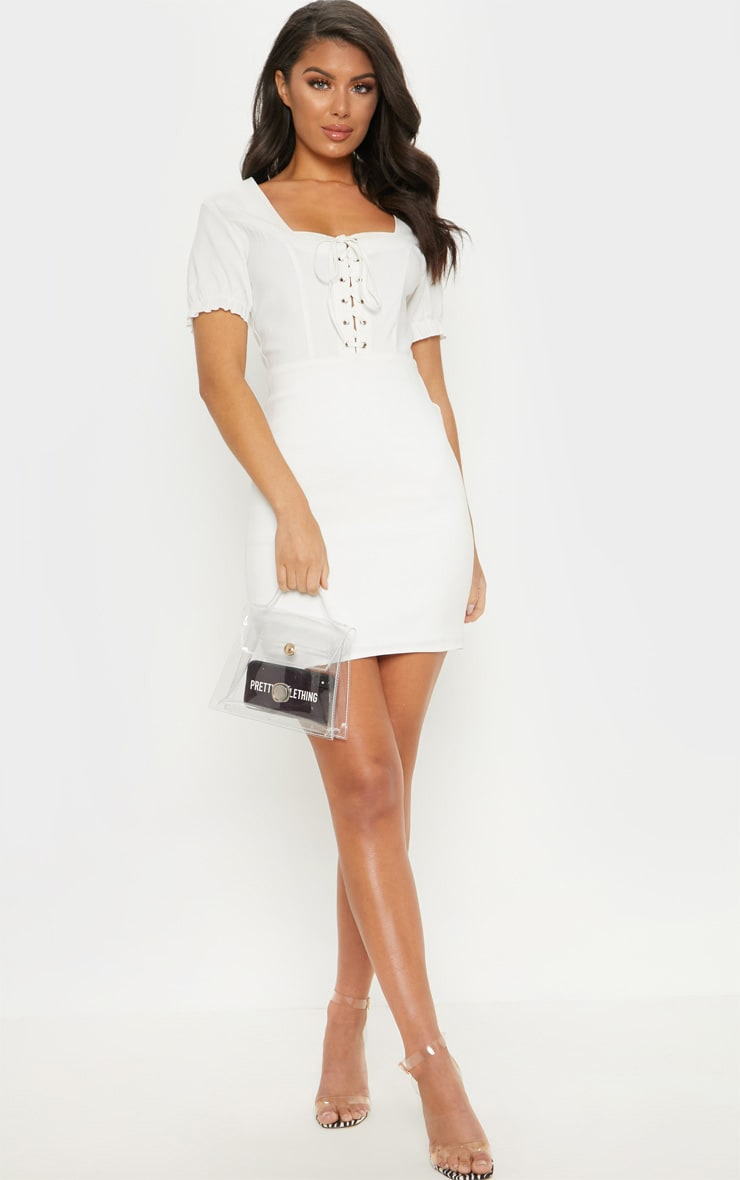 White Lace Up Frill Detail Bodycon Dress 1