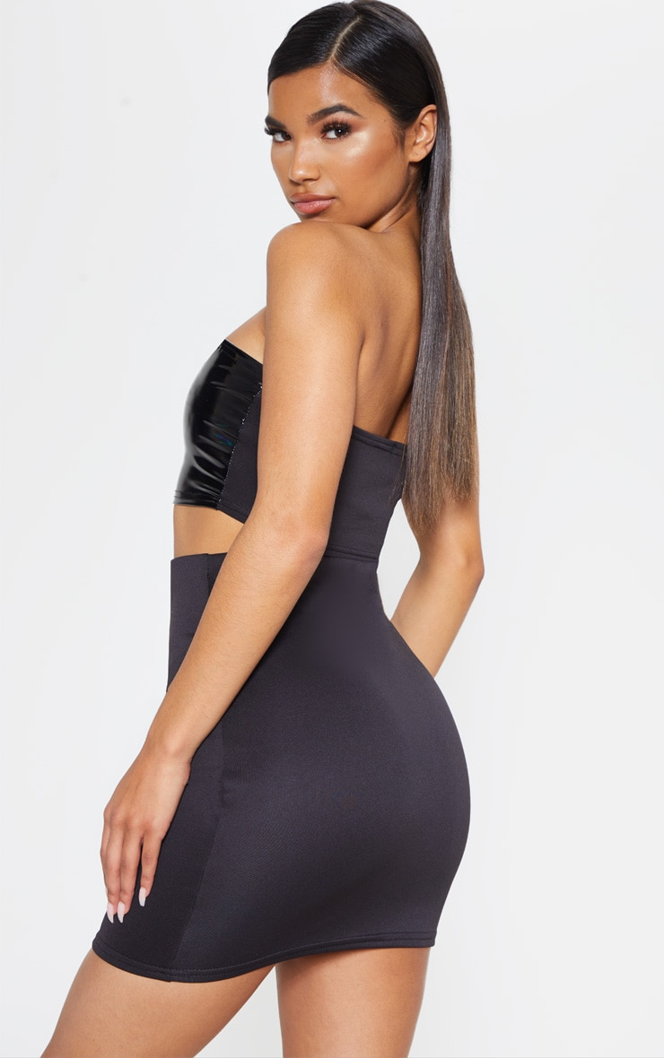 Black Hologram Contrast Panel Bandeau Crop Top 2