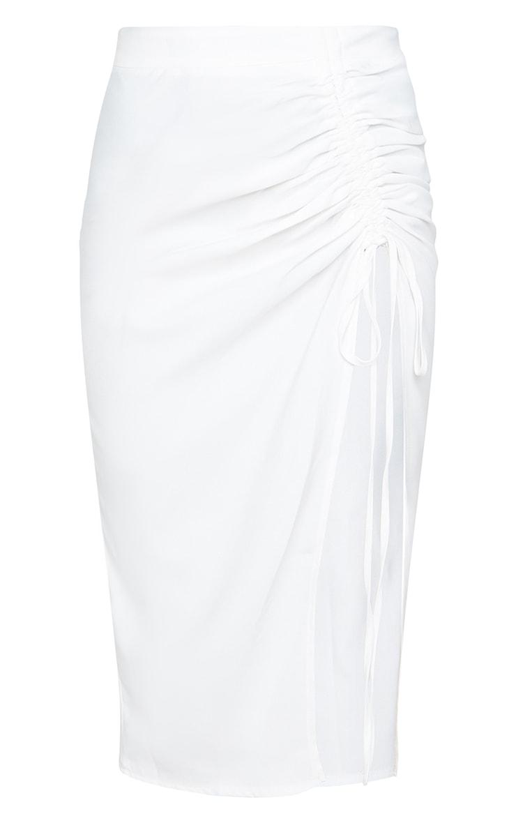 White Woven Ruched Detail Midi Skirt 5
