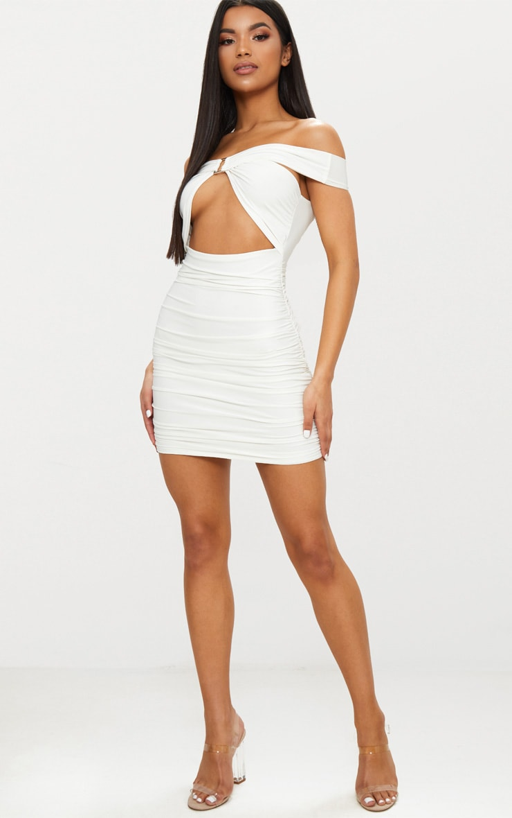 White Slinky Ring Detail Bardot Ruched Bodycon Dress  3