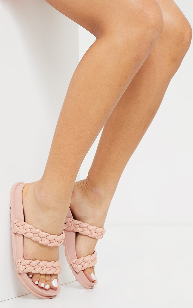 Blush PU Chunky Platted Twin Strap Footbed Sandals 1