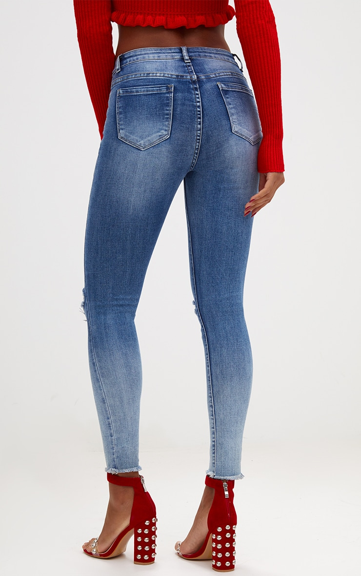 Mid Wash High Waisted Knee Rip Skinny Jean 4
