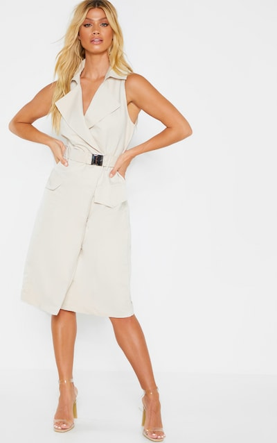 Stone Buckle Trench Style Midaxi Dress