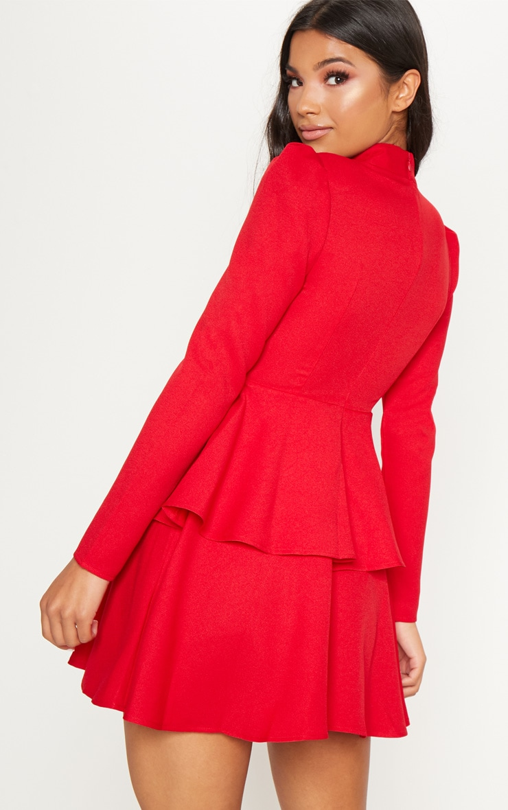 Red High Neck Tiered Skater Dress 2