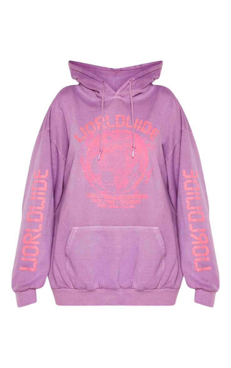 Washed Violet Worldwide Slogan Oversized Hoodie 3