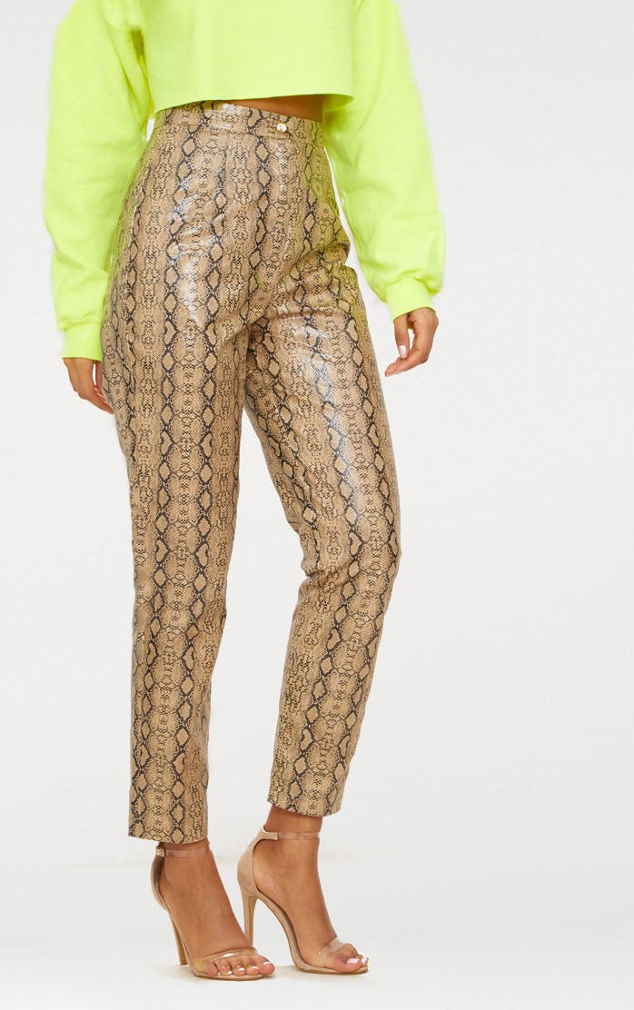 Taupe Faux Leather Snake Print Slim Leg Pants 2