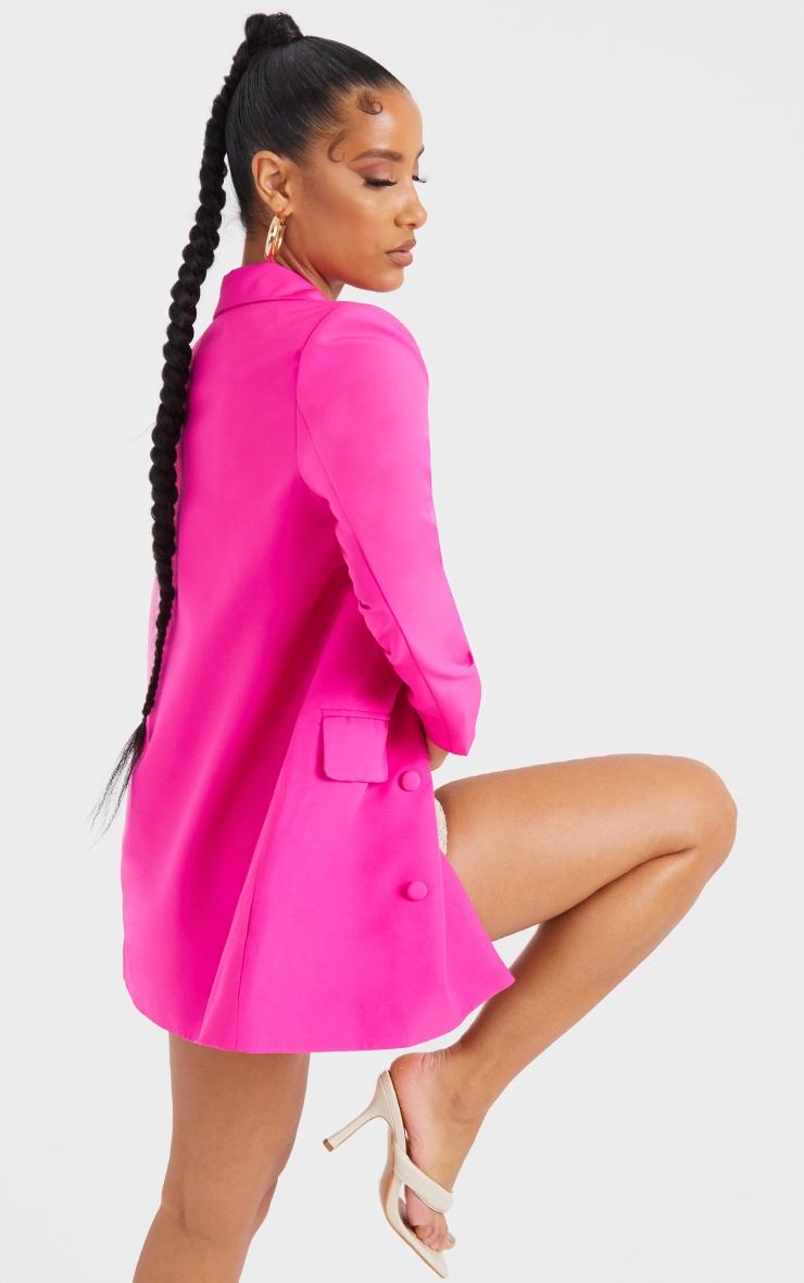 Pink Oversized Button-Down Woven Blazer 2