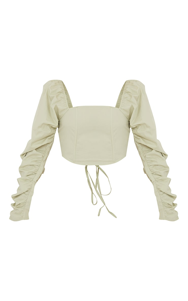 Sage Green Cotton Extreme Puff  Ruffle Sleeve Lace Up Crop Top 5