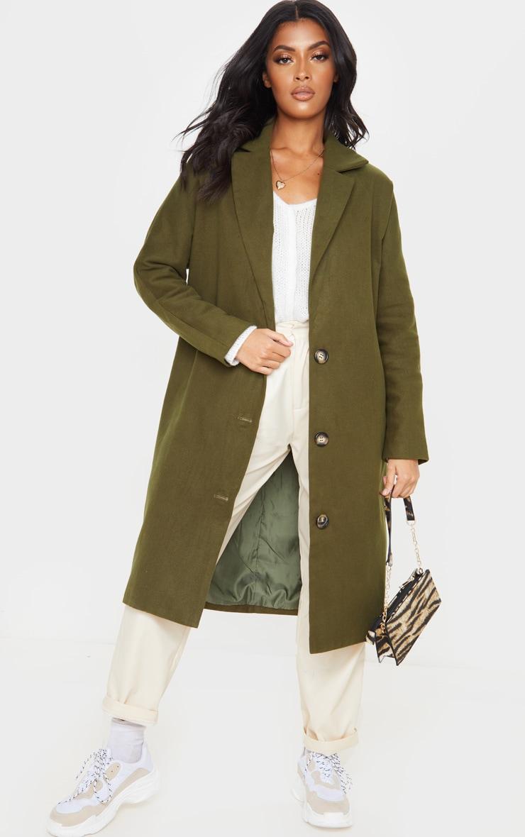 Khaki Boyfriend Oversized Midi Coat 1