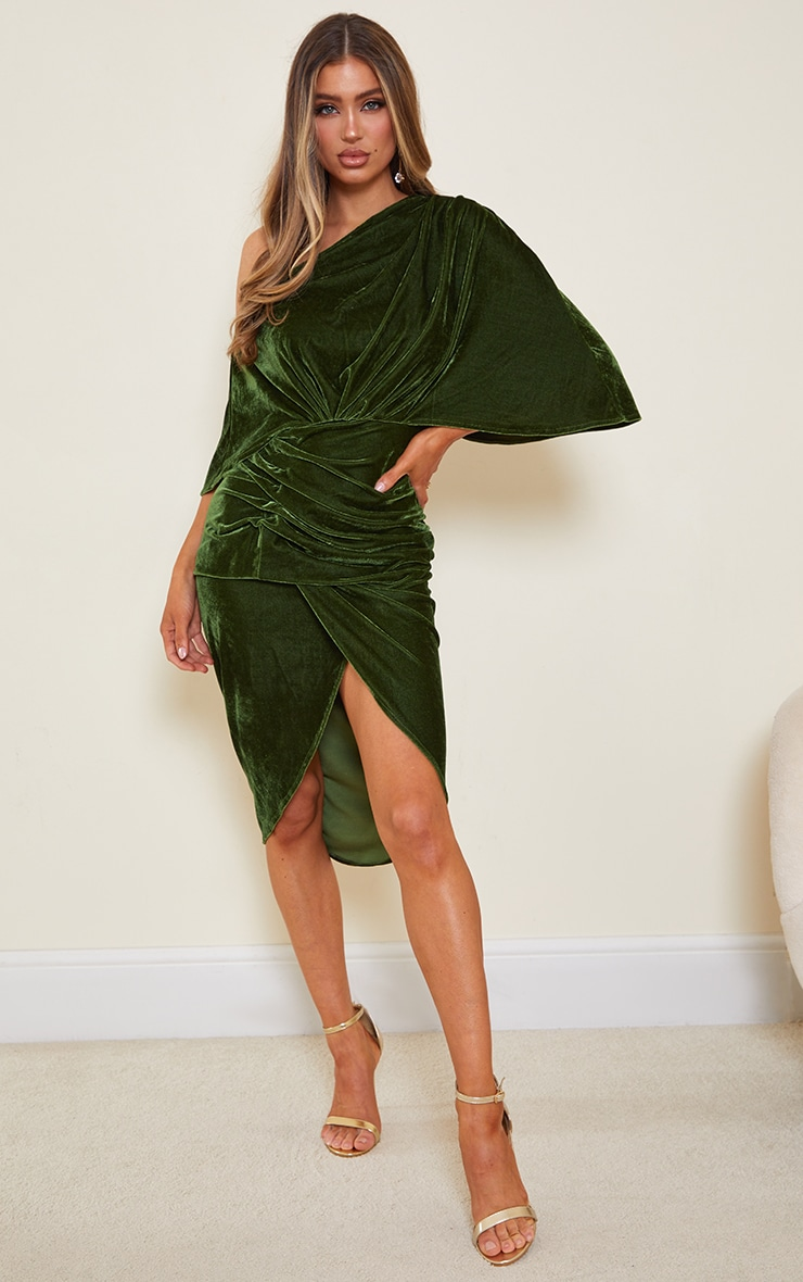 Olive Velvet Off Shoulder Drape Midi Dress 1