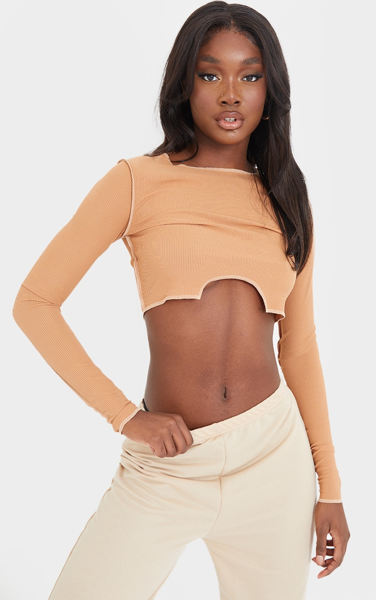 Tall Camel Scoop Cut Out Crop Top