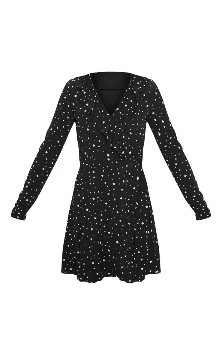 Black Star Print Frill Wrap Tea Dress 3