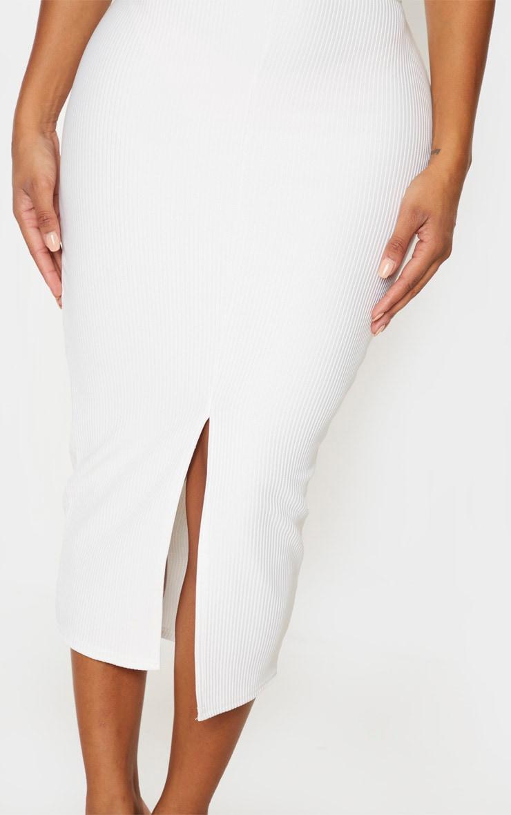 Shape Cream Jumbo Rib High Waist Midi Skirt 5