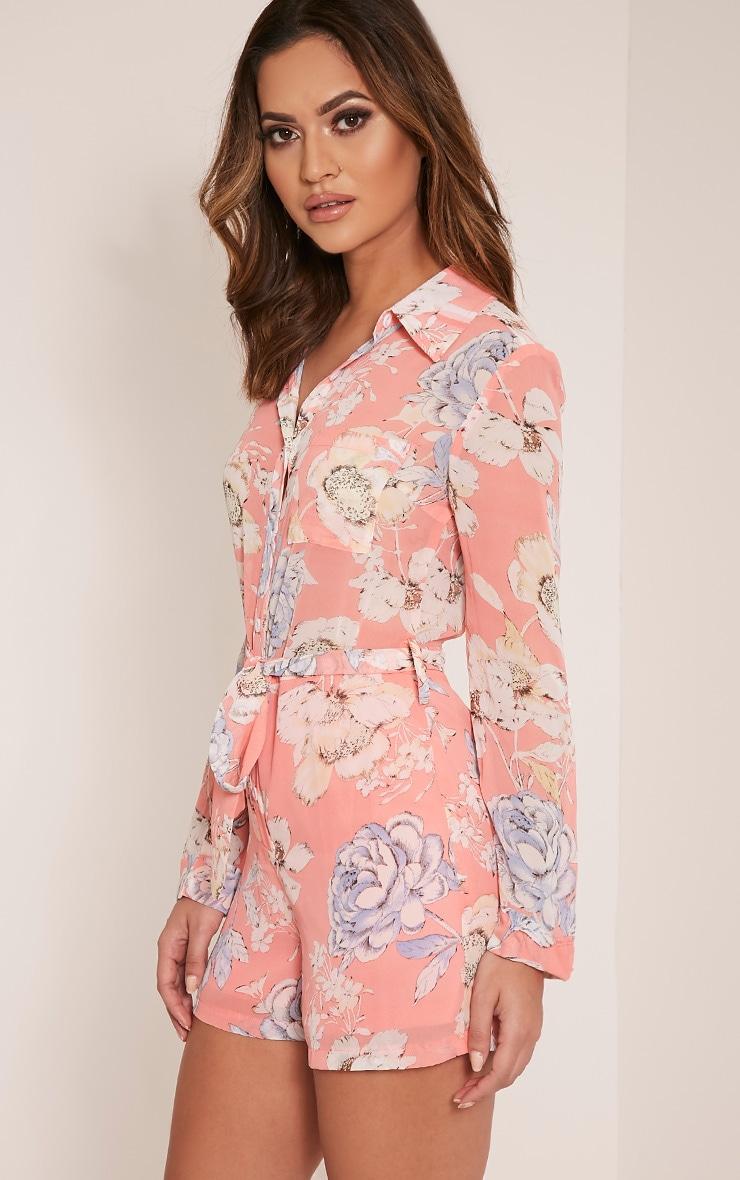 Aria Pink Floral Print Shirt Playsuit 3