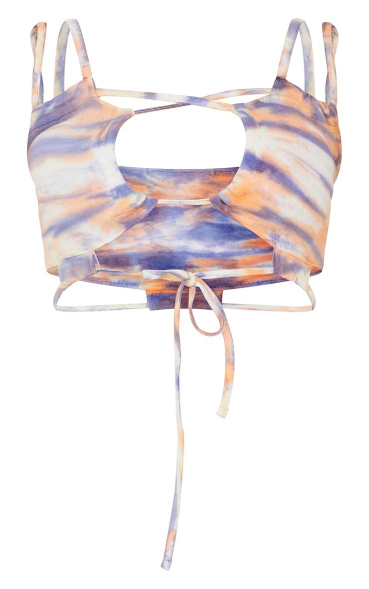 Purple Tie Dye Ruched Strappy Bralet 5