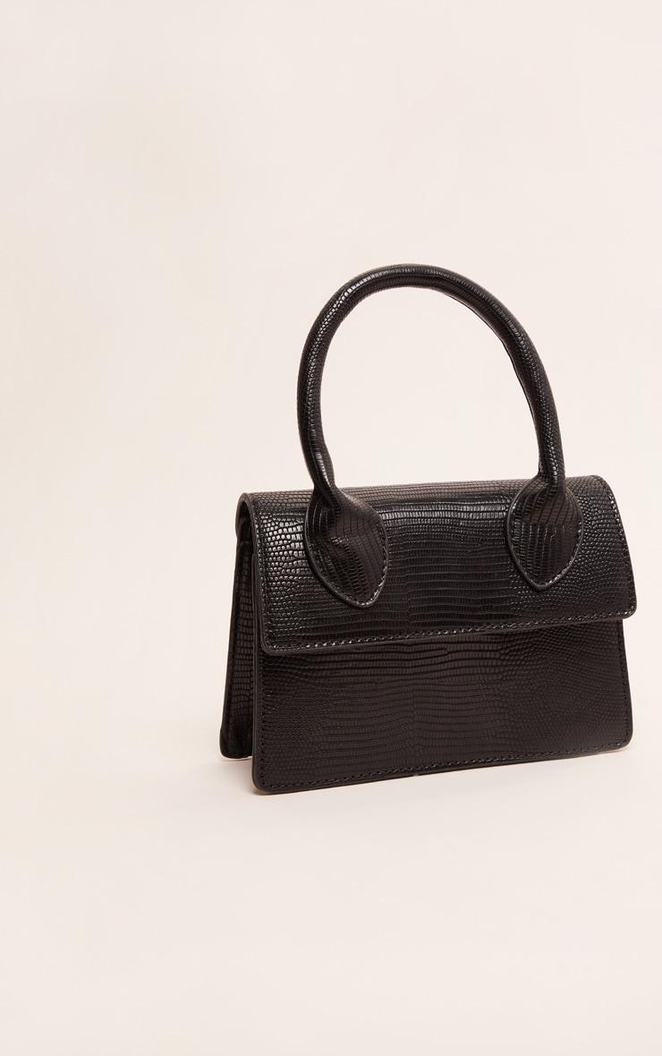 Black Croc Mini Handle Grab Bag 3