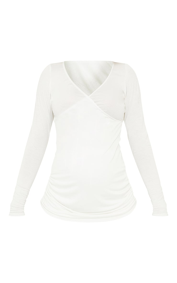 Maternity Off White Jersey Ruched Bump Long Sleeve Top 5