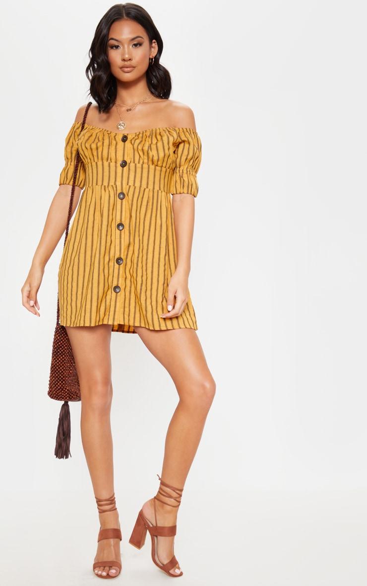 Mustard Stripe Button Through Bardot Shift Dress 4