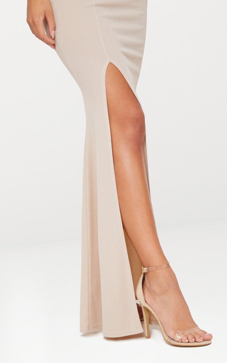 Nude One Shoulder Bardot Split Detail Maxi Dress 5