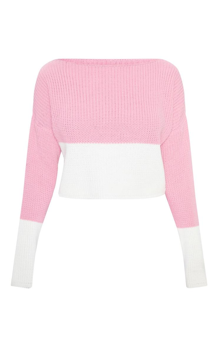 Pull vieux rose & blanc style colourblock 3