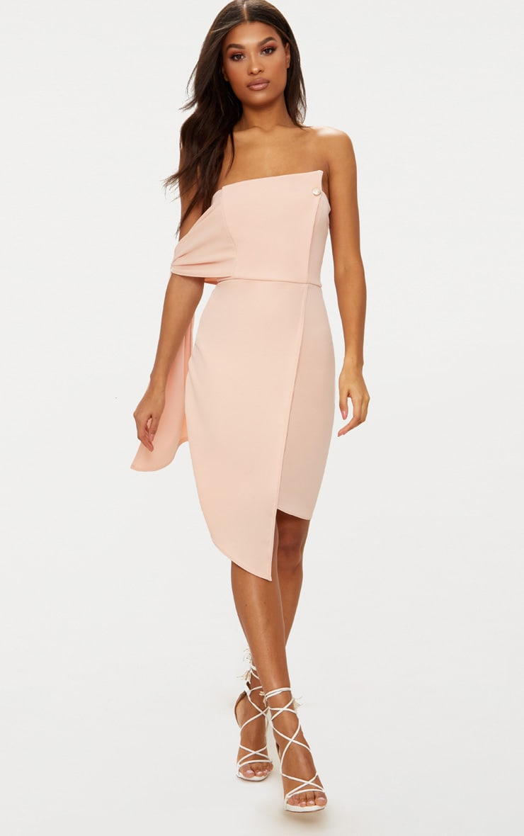 Nude Tie Detail Wrap Front Bandeau Midi Dress 1