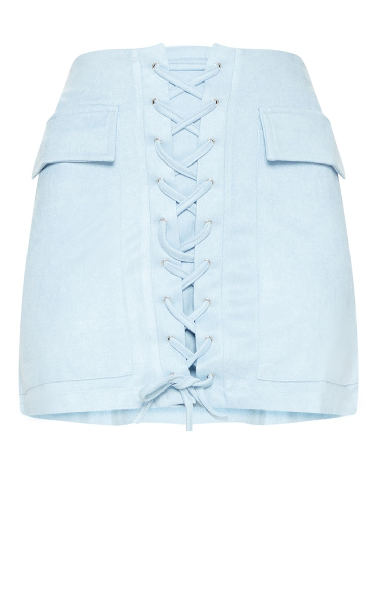 Baby Blue Faux Suede Lace Up Mini Skirt 3