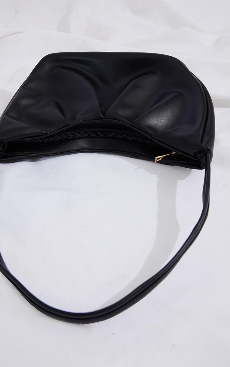 Black PU Ruched Shoulder Bag 3
