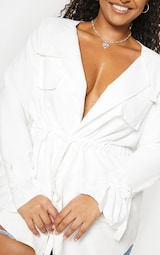 Plus White Faux Suede Cargo Ruched Waist Shirt 5