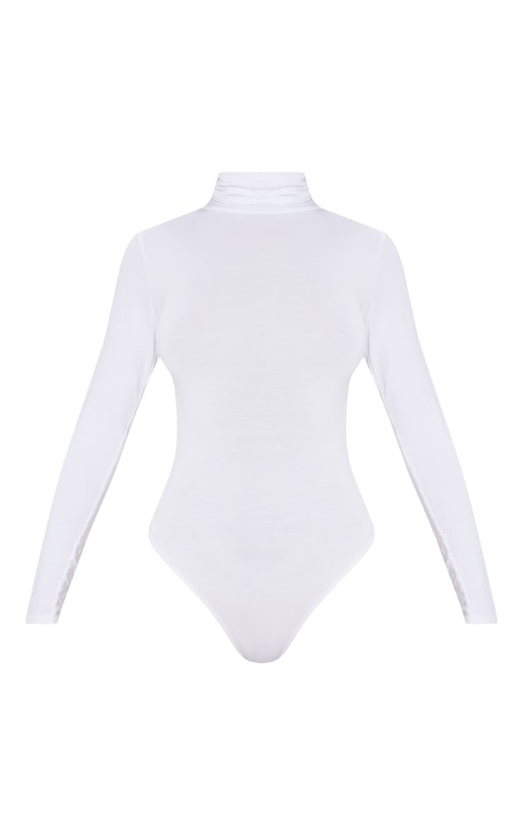 Basic White Roll Neck Long Sleeve Bodysuit 3