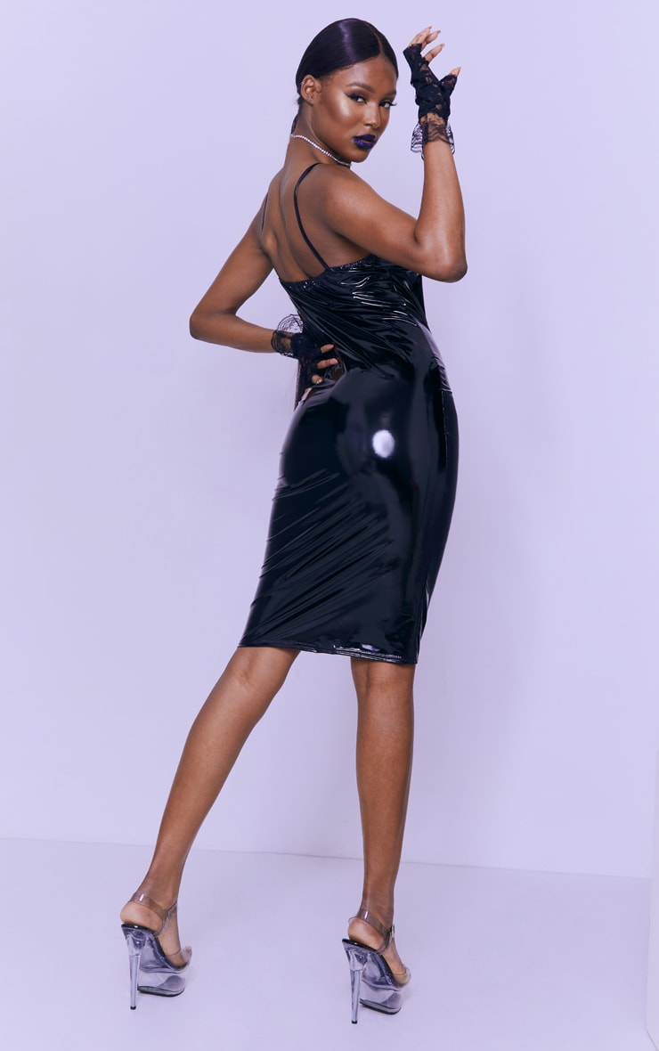 Tall Black Strappy Vinyl Midi Dress 2