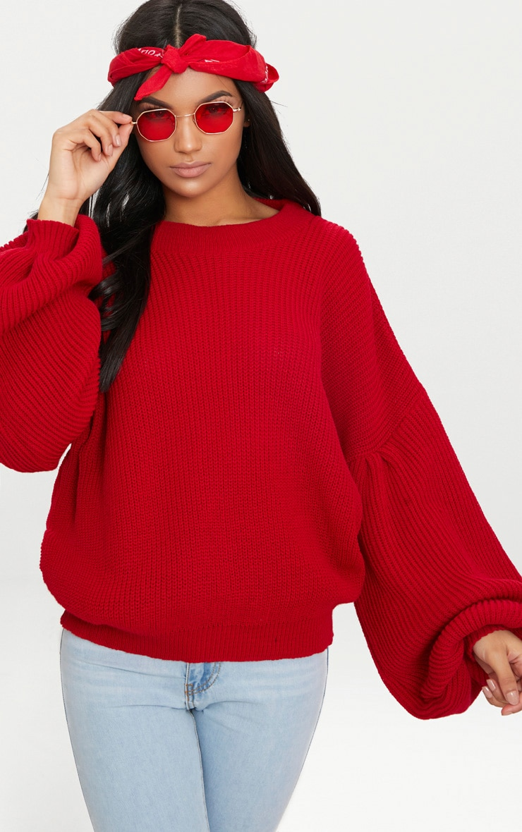 Red Extreme Balloon Sleeve Jumper 1