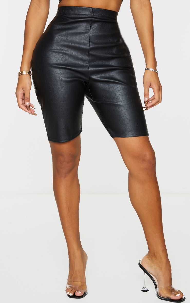 Shape Black Croc Embossed PU Bike Shorts 2